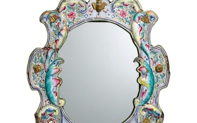 A Chinese export Canton enamel mirror, 18th century