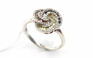 A DIAMOND AND MULTI STONE DRESS RING IN STERLING SILVER