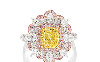 A Fancy Intense Yellow Diamond, Pink Diamond and Diamond Ring