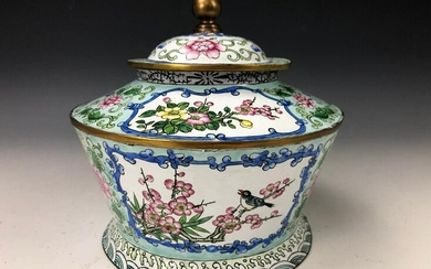 A Hand Painted Birds and Floral Cloisonne Box with Lid