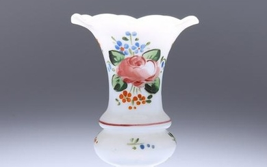 A LATE 19th CENTURY ENAMEL PAINTED MILCH GLASS VASE, of
