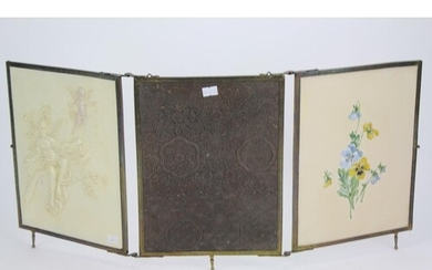 """A Late 19th Century French """"Ivorine"""" Triptych Wall Mirror in..."""
