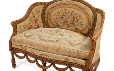 A Louis XVI Style Carved Beechwood Marquise