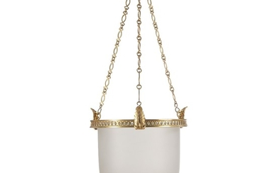 A Louis XVI style frosted glass hanging lamp with gilt-bronze mounting. Early 20th century. H. 70 cm. Diam. 28 cm.