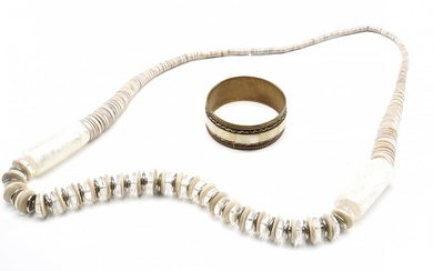 A MOTHER OF PEARL AND BRASS BANGLE ALONG WITH A WOOD AND RESIN NECKLACE