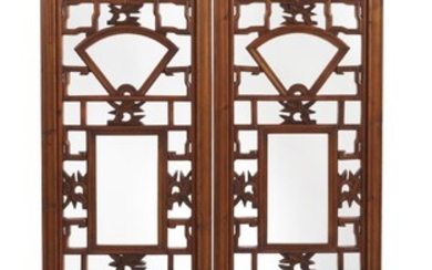 A PAIR OF CHINESE WOODEN FRETWORK WINDOW PANELS QING DYNASTY (1644-1912), CIRCA 19TH CENTURY