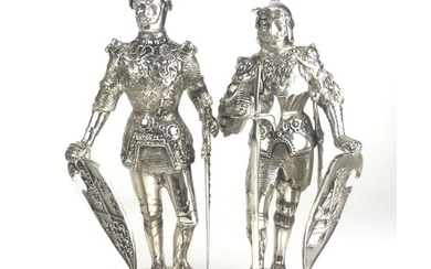 A PAIR OF CONTINENTAL SILVER .925 STATUES OF MEDIEVAL KNIGHT...
