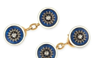 A PAIR OF ENAMEL AND DIAMOND CUFFLINKS, CARTIER in 18ct