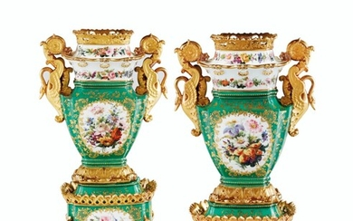 A PAIR OF JACOB PETIT PORCELAIN GREEN-GROUND VASES ON STANDS, MID-19TH CENTURY, BLUE J.P. MARK TO ONE