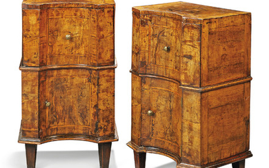 A PAIR OF NORTH ITALIAN WALNUT COMMODINI, INCORPORATING SOME 18TH CENTURY ELEMENTS