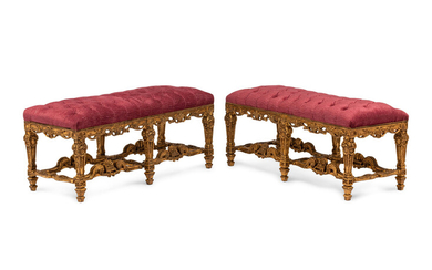 A Pair of Louis XIV Style Giltwood Benches