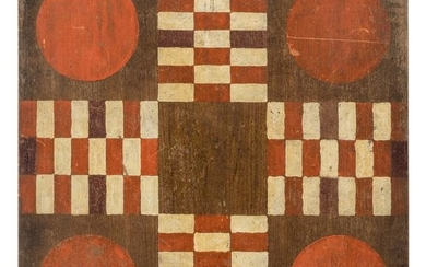 A Red and White Painted Walnut Parcheesi Board