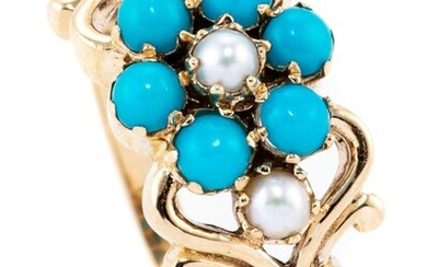 A VICTORIAN STYLE FORGET ME NOT GEMSET RING; set with seed pearls and turquoise beads in 9ct gold, size O.