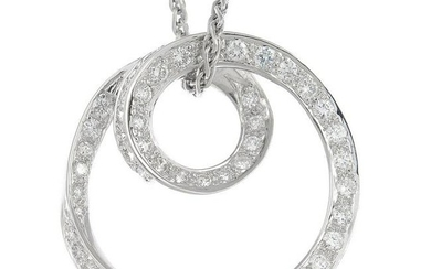 A brilliant-cut diamond necklace, suspended from an