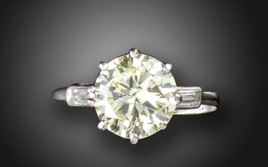 A diamond solitaire ring, the old circular-cut diamond weighs 2.08cts, with baguette-shaped shoulder diamonds in platinum, size M