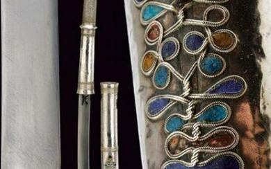 A fine silver mounted and enameled Dha