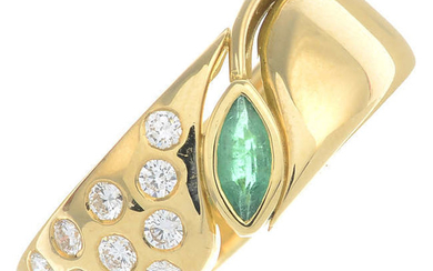 A marquise-shape emerald and brilliant-cut diamond floral band ring.