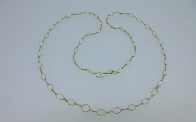 A necklace of spectacle set moonstones,