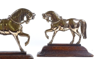 A pair of 19th century relief moulded brass horse design doo...