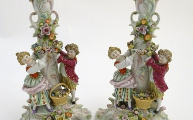 A pair of 19thC German figural lamp bases with two