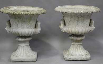 A pair of 20th century cast composition stone garden urns of twin-handled campana form, height 73cm