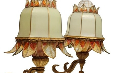 A pair of French gilt wrought iron and coloured glass wall lights
