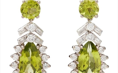 A pair of peridot and diamond cluster earrings