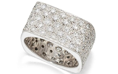 A pave diamond band ring, of square...
