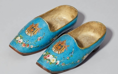 A rare pair of wooden shoes with the coat of arms of Emperor Napoleon