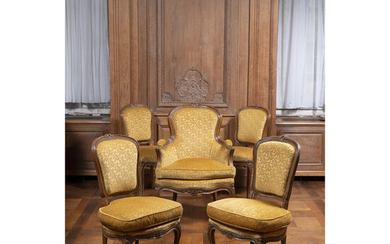 A set of louis XV style comprising one bergère, two armchairs and two chairs.