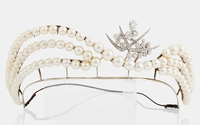 A tiara with cultured pearls and a detachable WA Bolin platinum brooch set with old-cut diamonds