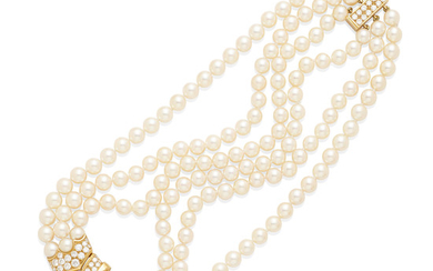 A triple strand cultured pearl necklace