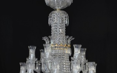 A very large and impressive Waterford bespoke cut and moulded glass eighteen light waterfall and bag chandelier