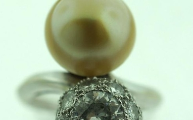 ADORABLE PLATINUM 1.60CTS DIAMOND & GOLD SOUTH SEA