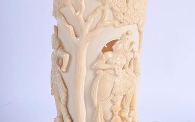 AN EARLY 20TH CENTUIRY INDIAN IVORY VASE, converted to
