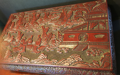 "ANTIQUE rare cinnabar wood low table, Qing period. 21 1/2"" x 12 1/2"" x 5 1/4"" high"
