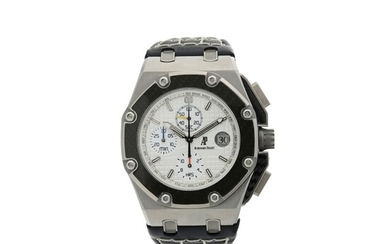 AUDEMARS PIGUET | REFERENCE 60301O.OO.D001IN.01 ROYAL OAK OFFSHORE JUAN PABLO MONTOYA A LIMITED EDITION TITANIUM AND CARBON FIBER CHRONOGRAPH WRISTWATCH WITH DATE, CIRCA 2010