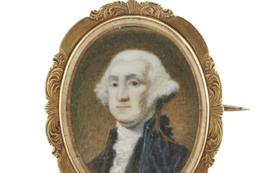 After Gilbert Stuart (1755-1828) Portrait miniature of George Washington,...