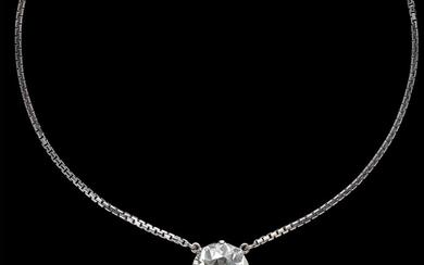 An Old-Cut Diamond Solitaire Necklace c. 10.50 ct