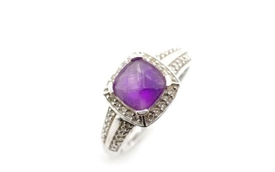 Amethyst, diamond and 9ct white gold halo ring marked 375 AC...
