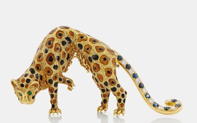 An 18K gold panther brooch set with round brilliant-cut diamonds, sapphires and emeralds