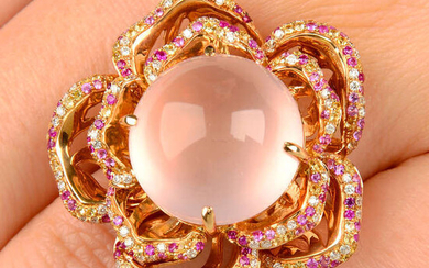 An 18ct gold rose quartz, pink and yellow sapphire and diamond floral dress ring.