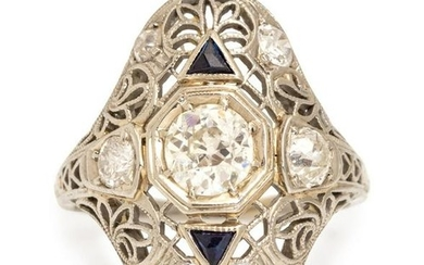 An Art Deco 18 Karat White Gold, Diamond and Synthetic