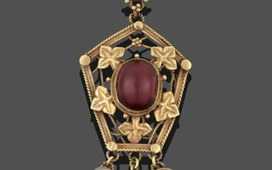 An Arts & Crafts Style Garnet and Moonstone Pendant, a...