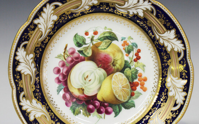 An English porcelain cabinet plate, probably Ridgway, mid-19th century, painted with a panel of frui