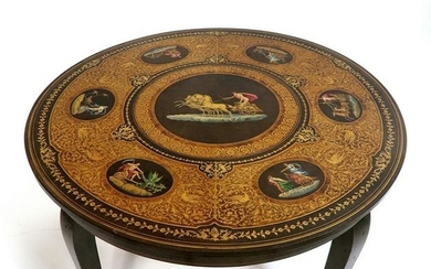 An Italian Wood Inlaid & Hand Painted Table
