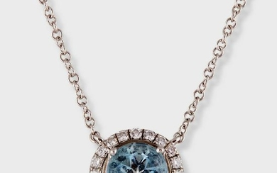 An aquamarine, diamond, and platinum pendant necklace