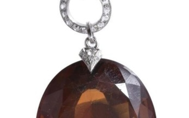 An early twentieth century citrine and diamond pendant by Georges Fouquet