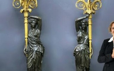 An important Pair of Henry Dasson Figural Torcheres
