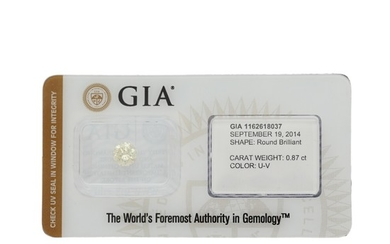An unmounted brilliant-cut diamond weighing 0.87 ct. Colour Light Yellow.